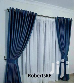 Plain Elegant Blue Linen Curtain With Matching Sheer | Home Accessories for sale in Nairobi, Nairobi Central