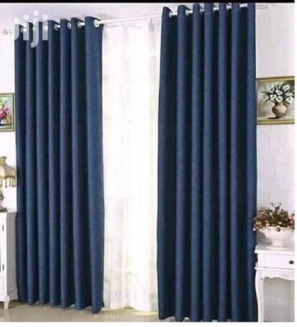 Dark Blue Linen Plain Curtain