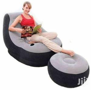 Grey Inflatable Seat With Foot Rest Comes With Amanual Pump | Furniture for sale in Nairobi, Nairobi Central