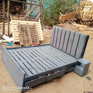 5*6 Gray Chester Headboard Pallet Bed | Furniture for sale in Nairobi, Embakasi
