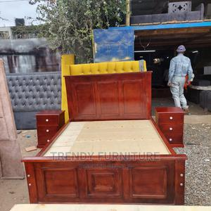 5*6 Pure Mahogany Modern Bed With Sidedrawers | Furniture for sale in Nairobi, Kahawa