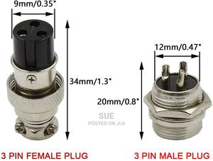3 Pin Metal Male Female Panel Connector 12mm GX12-3P Silver   Accessories & Supplies for Electronics for sale in Nairobi, Nairobi Central