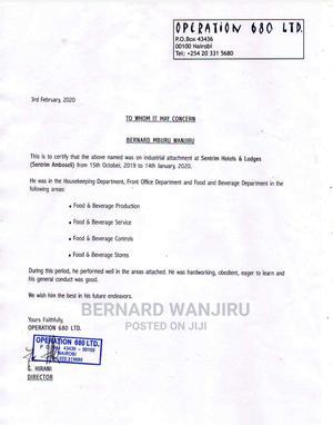 Waiter/Waitress | Hotel CVs for sale in Kiambu, Kiambu / Kiambu