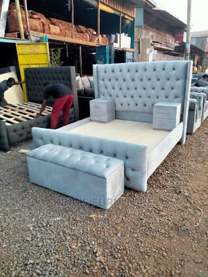 5×6 Fabric Bed + 2 Sidedrawers + Ottoman | Furniture for sale in Nairobi, Nairobi Central