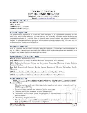 Human Resources CV | Human Resources CVs for sale in Nairobi, Embakasi