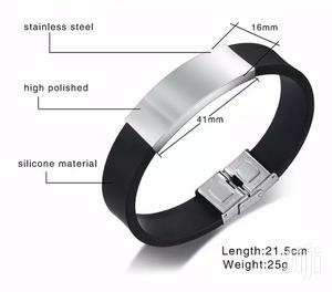 Personalised Unisex Stainless Steel Silicone Wristband Bangle Bracelet   Jewelry for sale in Nairobi, Mountain View